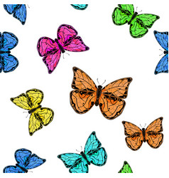 butterflies colored seamless background vector image