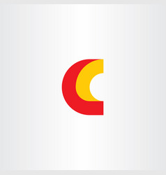 c logo letter red yellow icon sign vector image