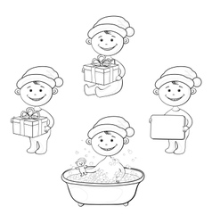 Cartoon children in Santa hat outline vector image