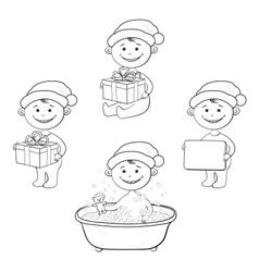 Cartoon children in Santa hat outline vector