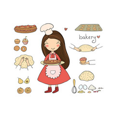 Cartoon girl bakes a cake on a white background vector