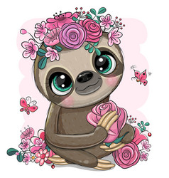 Cartoon sloth with flowers on a white background vector