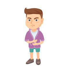 caucasian sad boy having stomach ache vector image