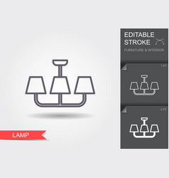 chandelier line icon with editable stroke with vector image