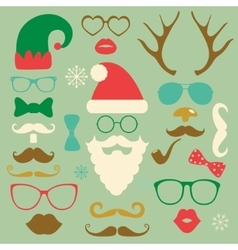Christmas Colorful Fashion Silhouette Set Hipster vector