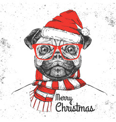 Christmas hipster fashion animal pug-dog vector