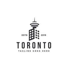 city building and cn toronto tower logo icon vector image