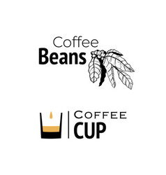 coffee logo hand drawn and minimal cup vector image