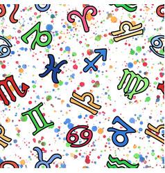 Color zodiac signs seamless pattern zodiac vector