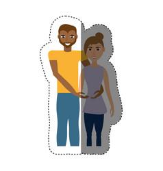 couple romantic mixed race shadow vector image