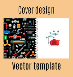 cover design with machinery industrial pattern vector image