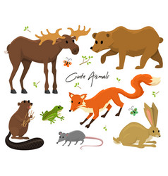 cute animals for baby wild moose and deer hare vector image