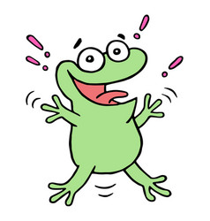 Cute lucky smiling green toad vector