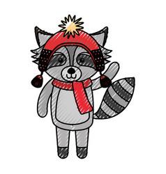cute scribble christmas raccoon cartoon vector image