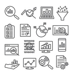 data analysis line icons set on white background vector image