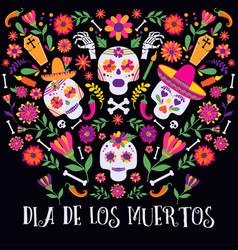 day of the dead dia de los muertos banner with vector image