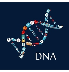 DNA helix from healthcare symbols flat icon vector
