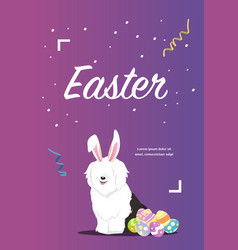 dog as easter hare with easter eggs vector image