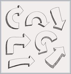 doodled arrows vector image vector image