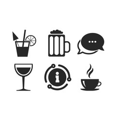 Drinks signs coffee cup glass beer icons vector