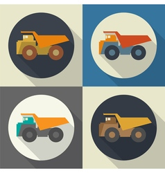Dump truck set icon vector