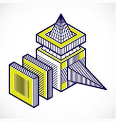 engineering abstract shape 3d polygonal figure vector image