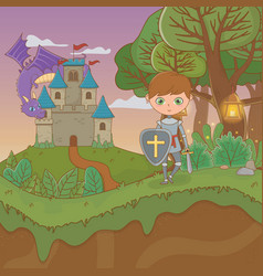 fairytale landscape scene with castle and warrior vector image