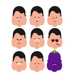 fat set emotion avatar sad and angry face guilty vector image