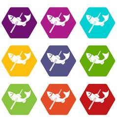Fishing icons set 9 vector