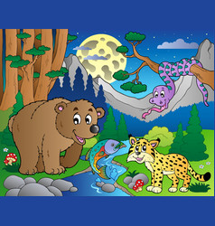 forest scene with happy animals 1 vector image