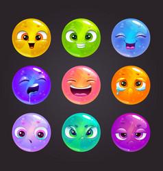 Funny cartoon colorful round emoji faces vector
