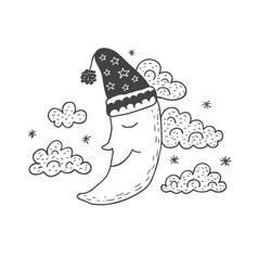 Funny moon nursery art minimalist scandinavian vector