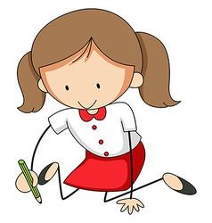 Girl writing vector image
