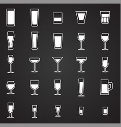 Glasses icons set on black background for graphic vector
