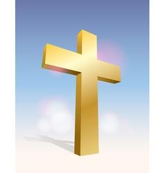 Golden cross in sky vector