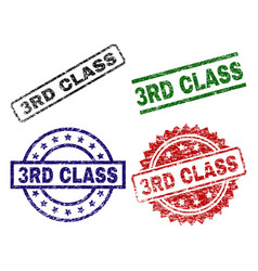 grunge textured 3rd class seal stamps vector image