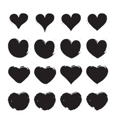 grungy hand draw hearts valentins day symbol vector image