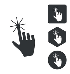 Hand cursor icon set monochrome vector image