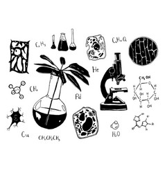 hand drawn sketch of chemistry vector image