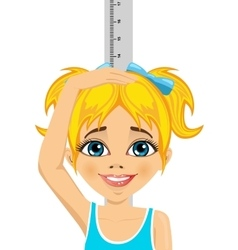 Happy little girl measuring her growth in height vector