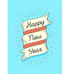 happy new year ribbon banner in engraving style vector image