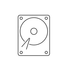 Hard drive linear icon on white background vector