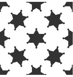 Hexagram sheriff star badge icon seamless pattern vector