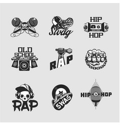 Hip-hop music signs set rap party collection of vector