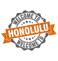 honolulu round ribbon seal vector image vector image