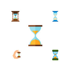 Icon flat timer set of instrument hourglass vector