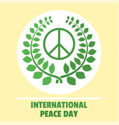 international peace day green background flat vector image