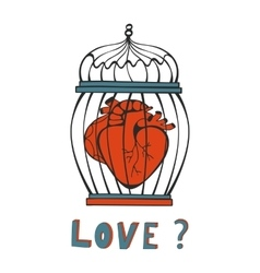 Is it Love Human heart in a cage vector image