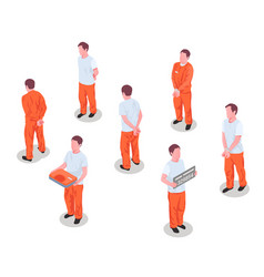 jail prisoners characters set vector image