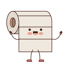 Kawaii cartoon roll paper towel in colorful vector